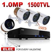 ELEC HDMI 960H 4CH Channel DVR CCTV 1500TVL Surveillance Security System with Four Day/Night Vision Security Camera, No Hard Drive